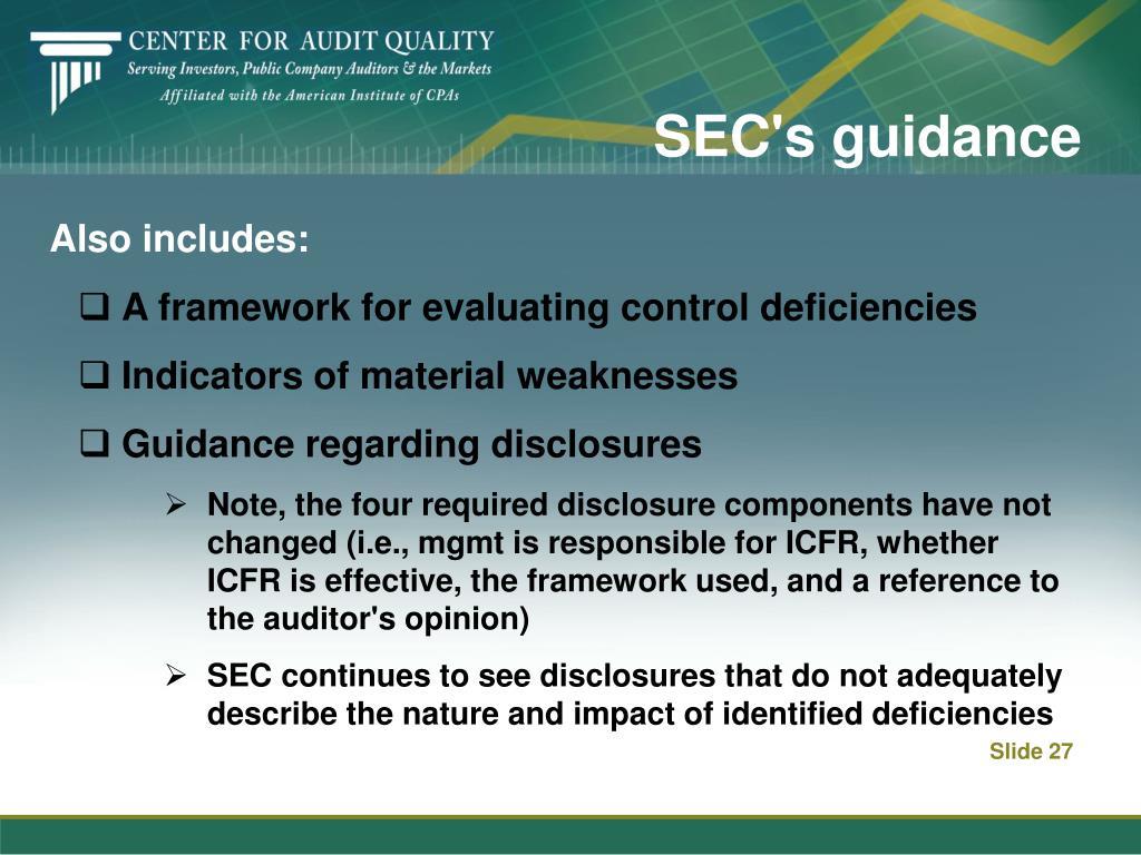 SEC's guidance
