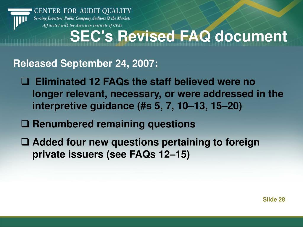 SEC's Revised FAQ document