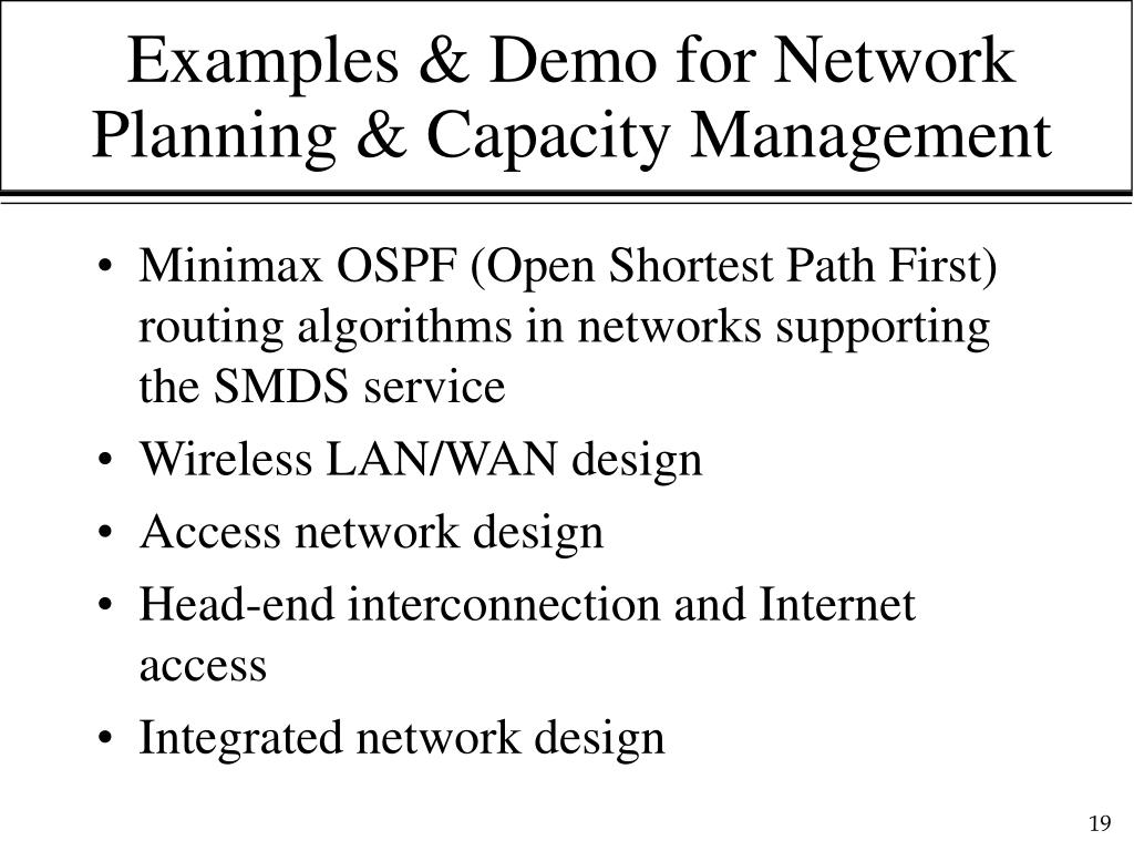 Examples & Demo for Network Planning & Capacity Management