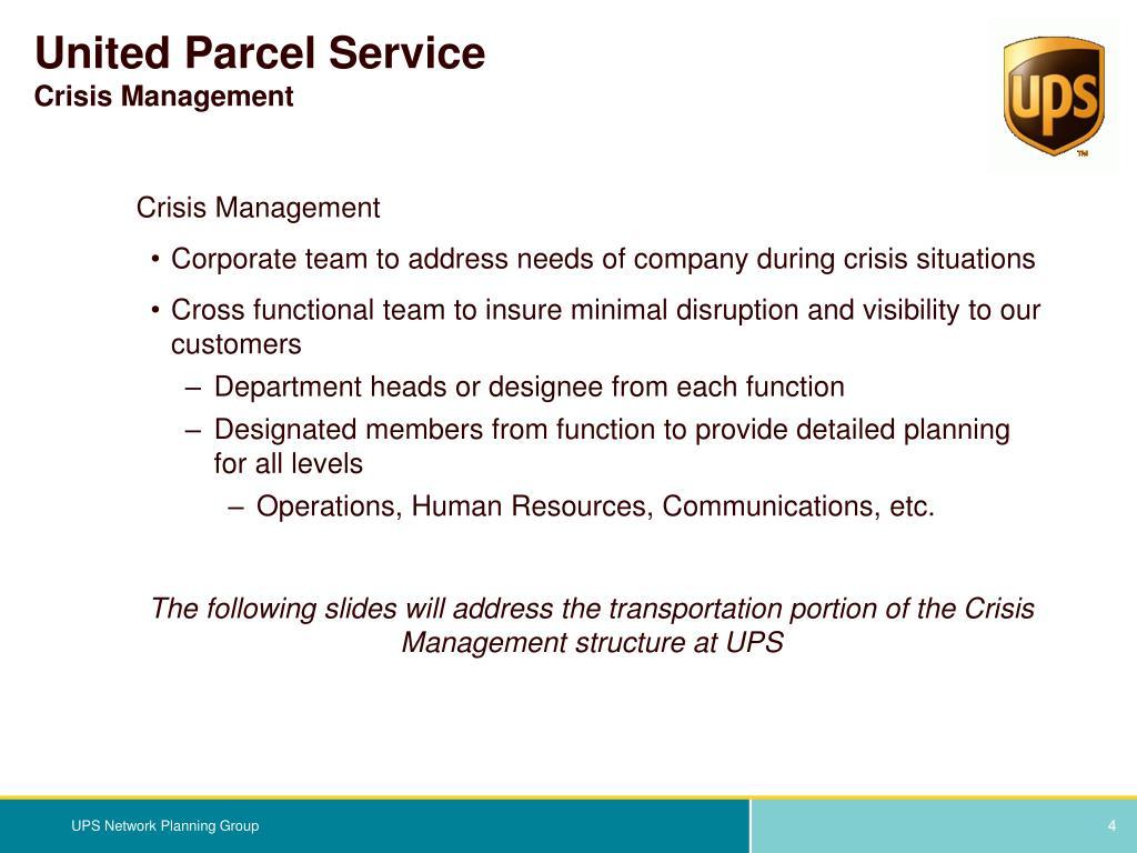 united parcel service basic management structure