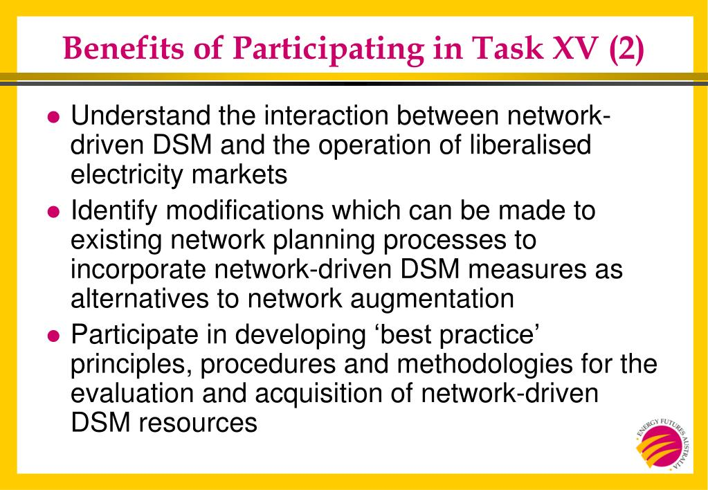 Benefits of Participating in Task XV (2)