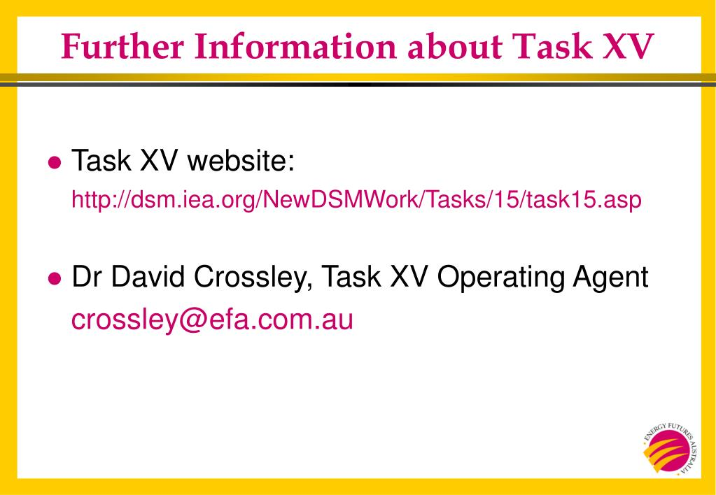 Further Information about Task XV