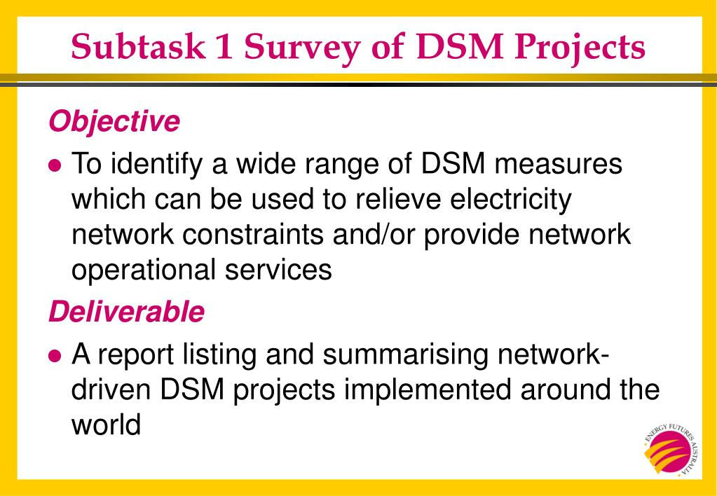 Subtask 1 Survey of DSM Projects