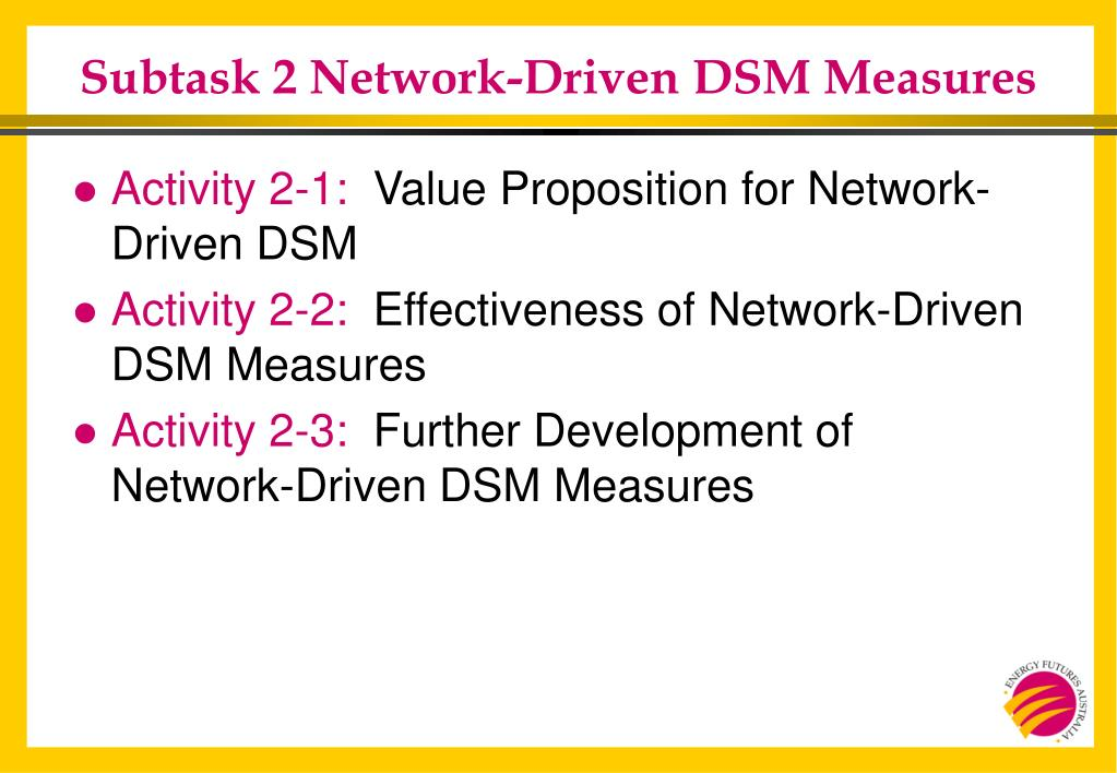 Subtask 2 Network-Driven DSM Measures