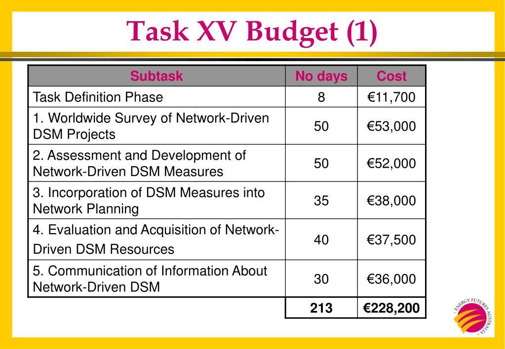 Task XV Budget (1)