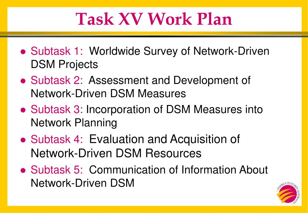 Task XV Work Plan