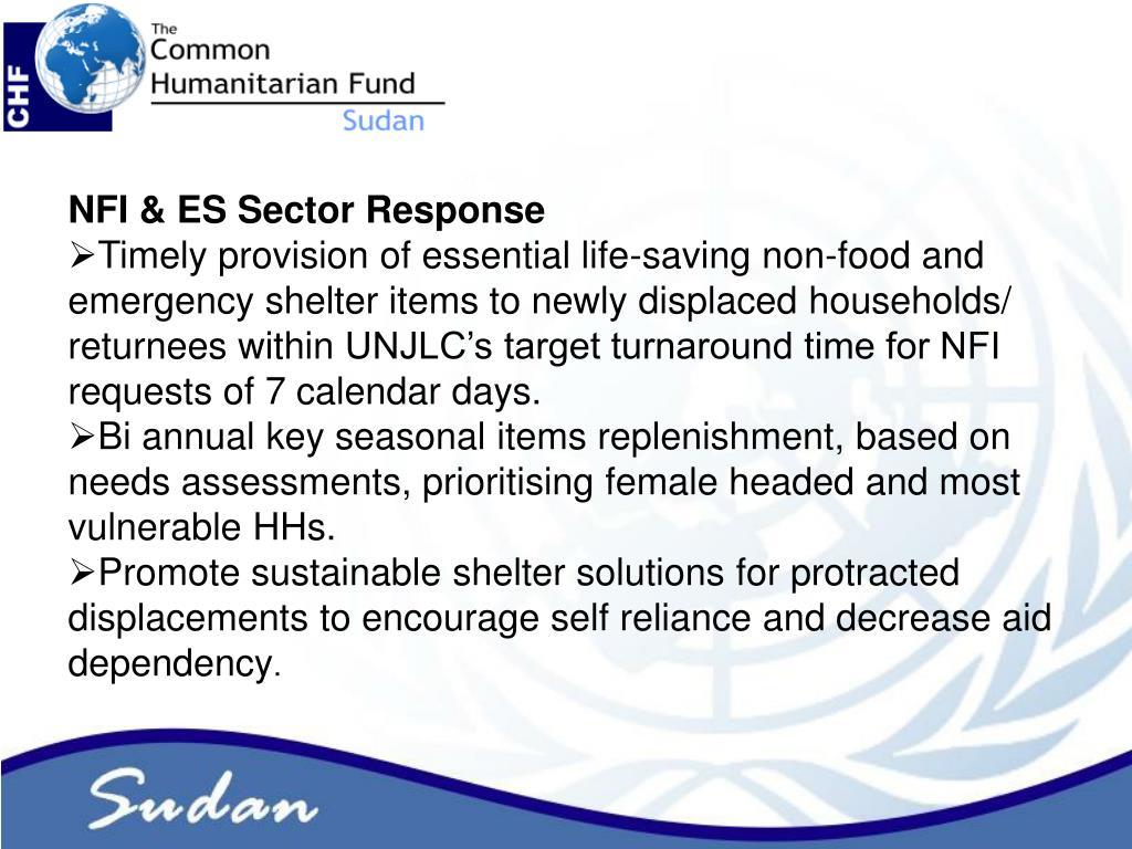 NFI & ES Sector Response