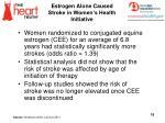estrogen alone caused stroke in women s health initiative