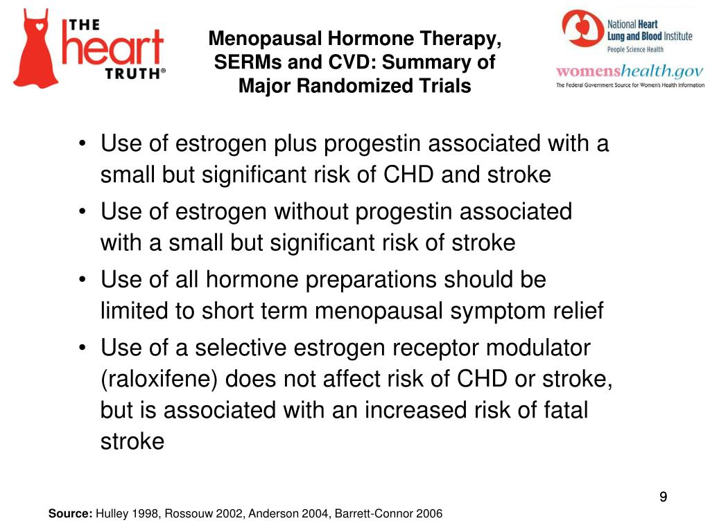 Menopausal Hormone Therapy, SERMs and CVD: Summary of Major Randomized Trials