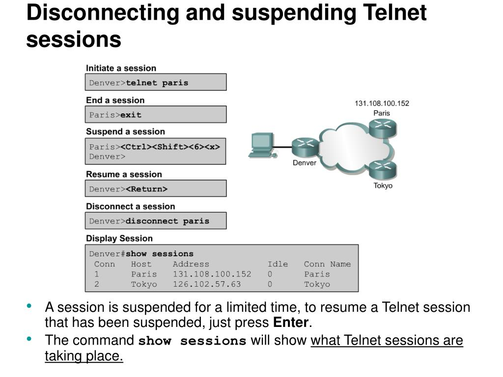 Disconnecting and suspending Telnet sessions