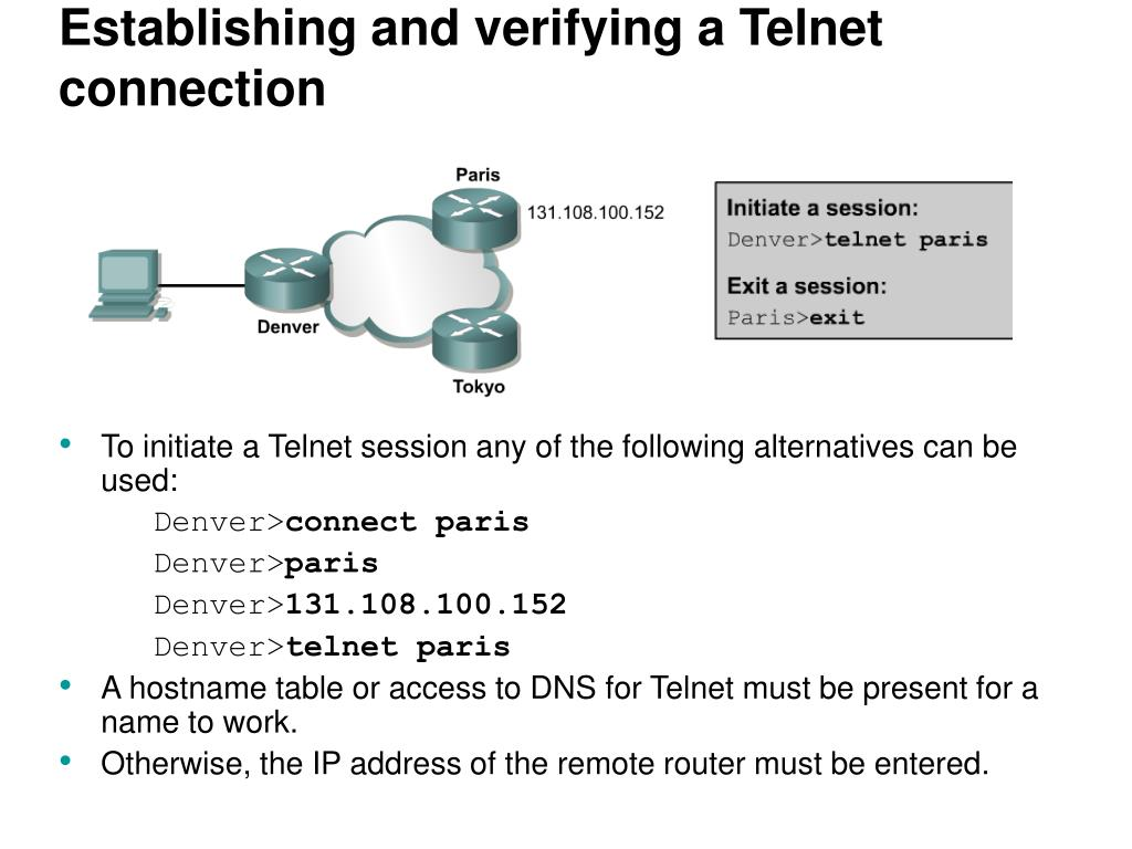Establishing and verifying a Telnet connection