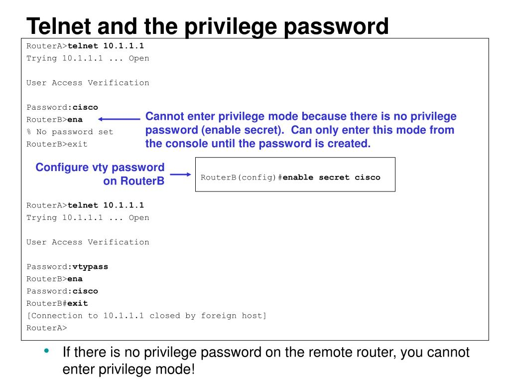 Telnet and the privilege password