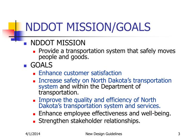 Nddot mission goals