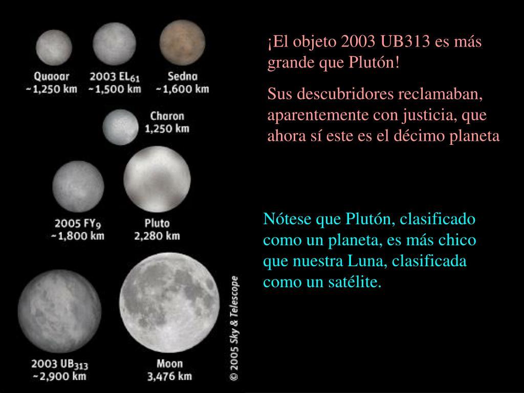 ¡El objeto 2003 UB313 es más grande que Plutón!