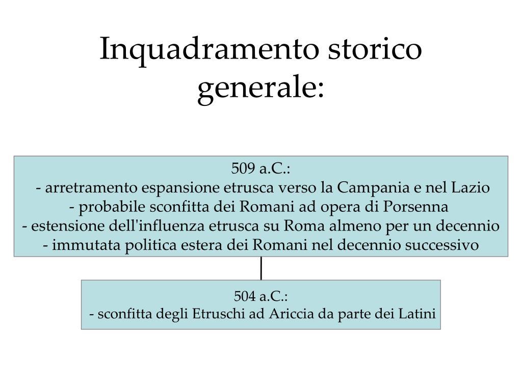 Inquadramento storico generale: