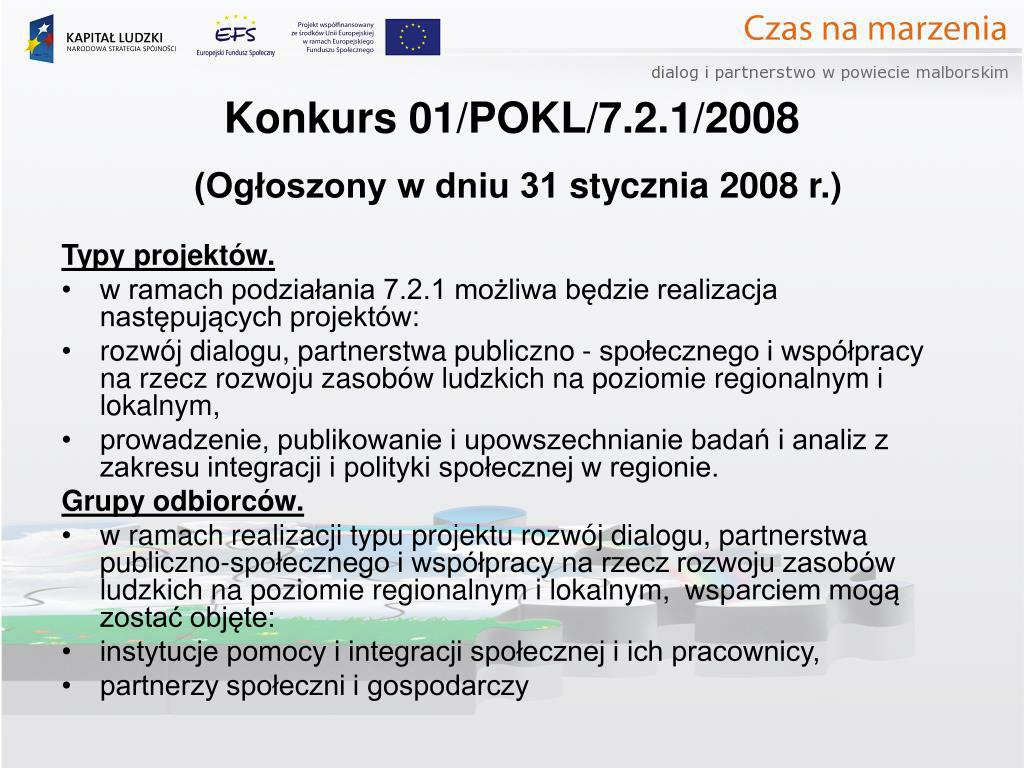 Konkurs 01/POKL/7.2.1/2008