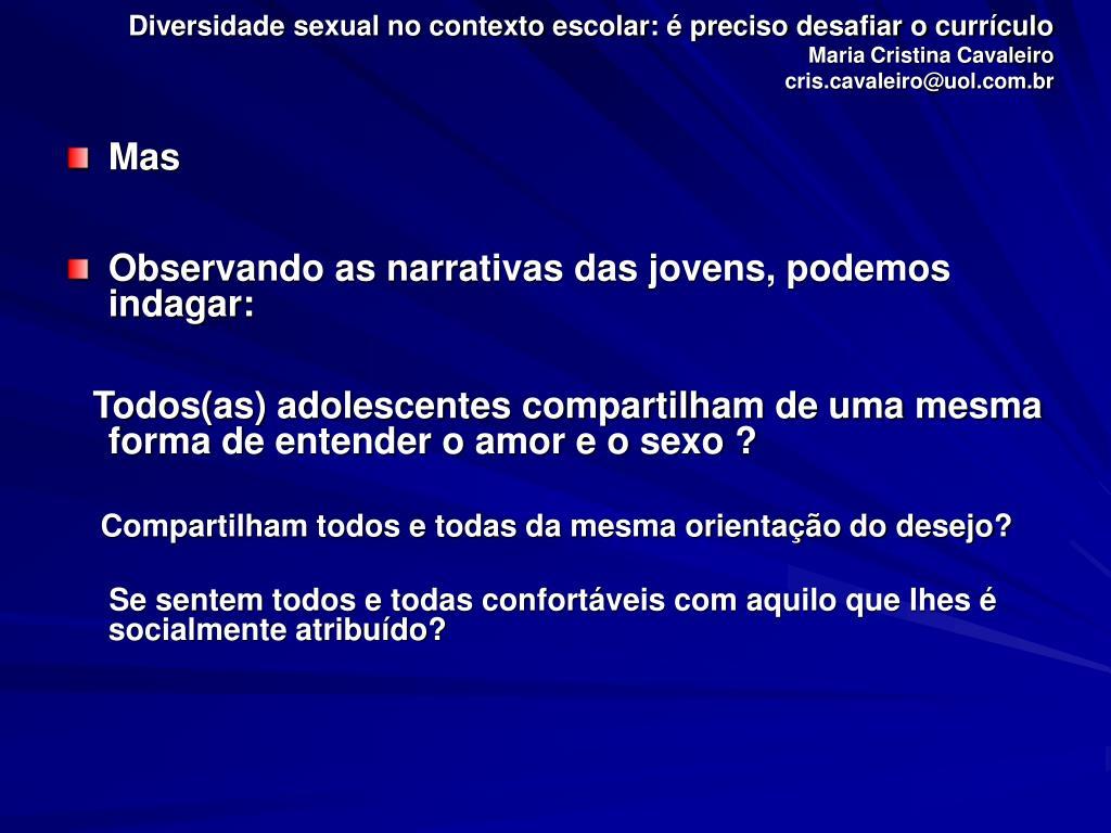 Diversidade sexual no contexto escolar: é preciso desafiar o currículo