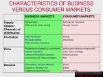 characteristics of business versus consumer markets102