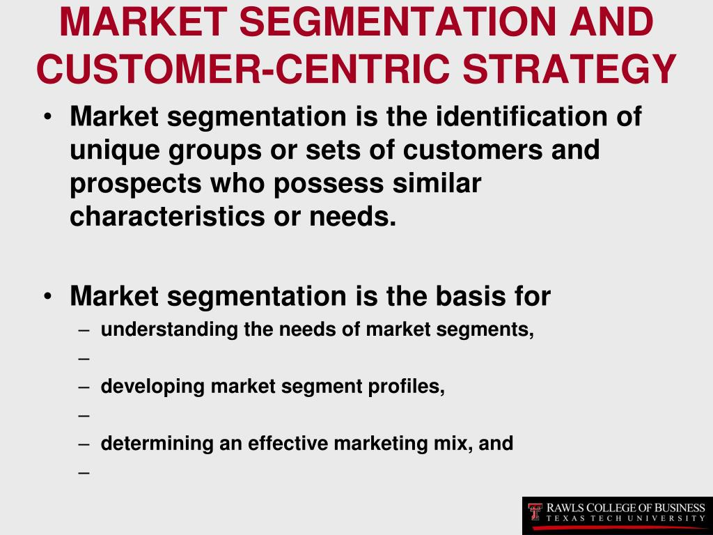 MARKET SEGMENTATION AND CUSTOMER-CENTRIC STRATEGY