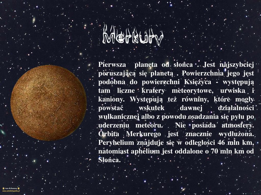 Pierwsza  planeta od słońca