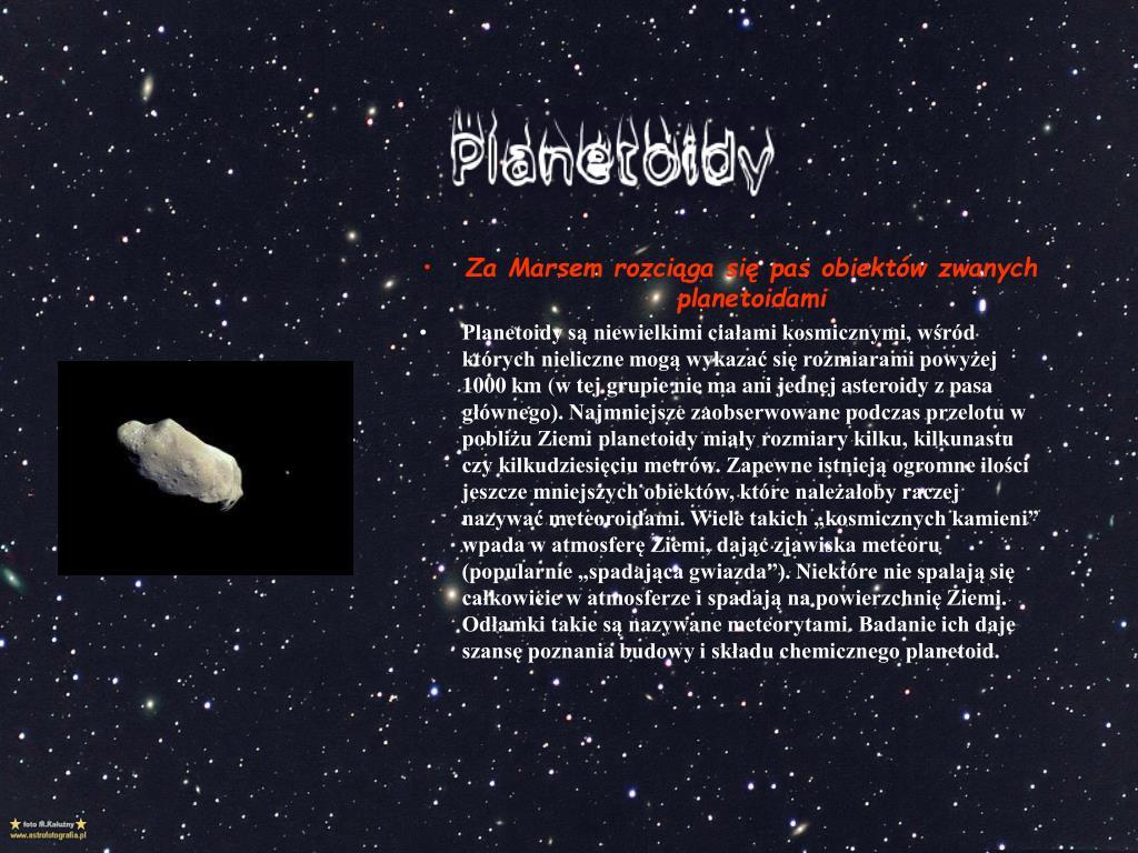 Za Marsem rozciąga się pas obiektów zwanych planetoidami