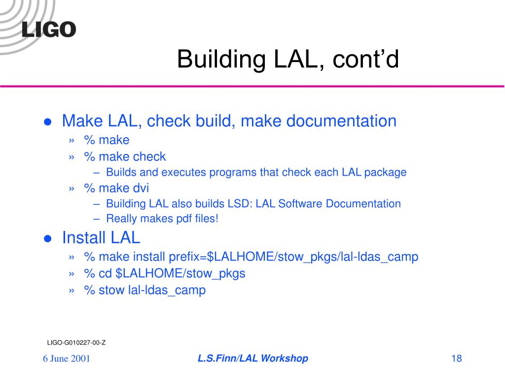 Building LAL, cont'd