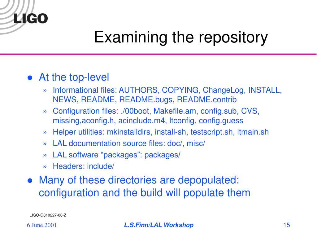 Examining the repository
