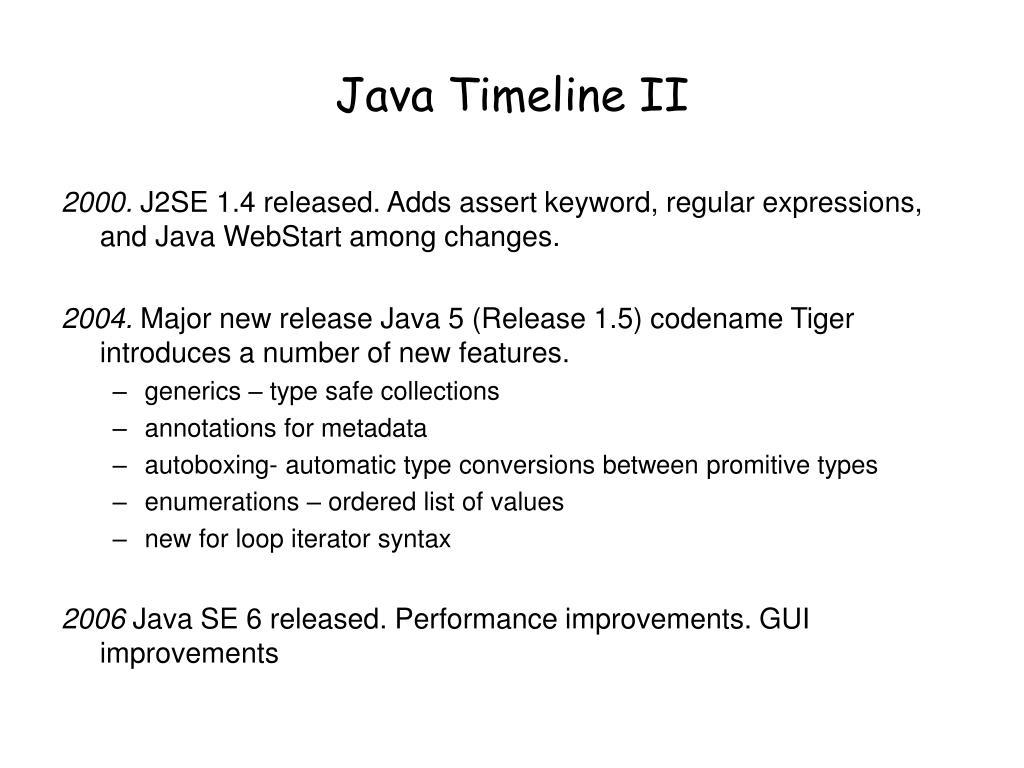 Java Timeline II