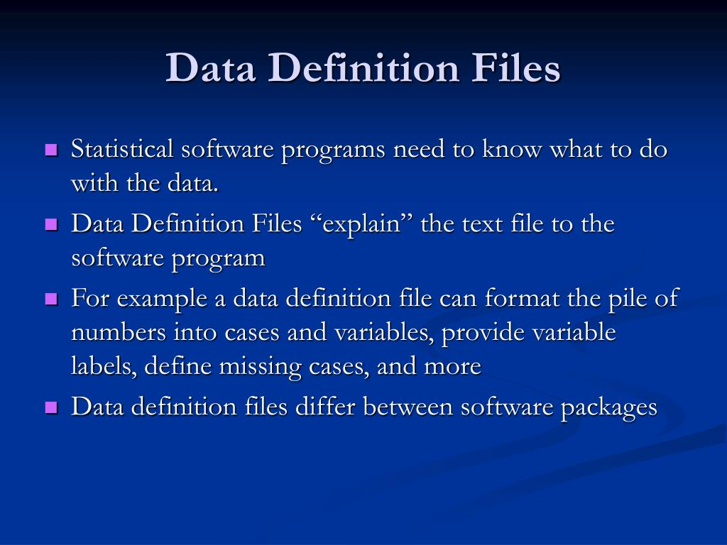 Data Definition Files
