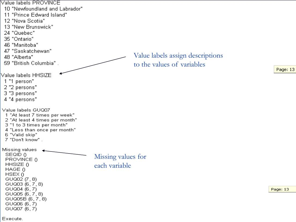 Value labels assign descriptions to the values of variables