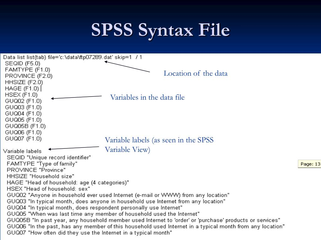 SPSS Syntax File