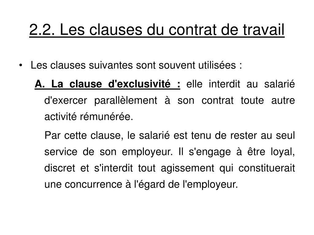 2.2. Les clauses du contrat de travail