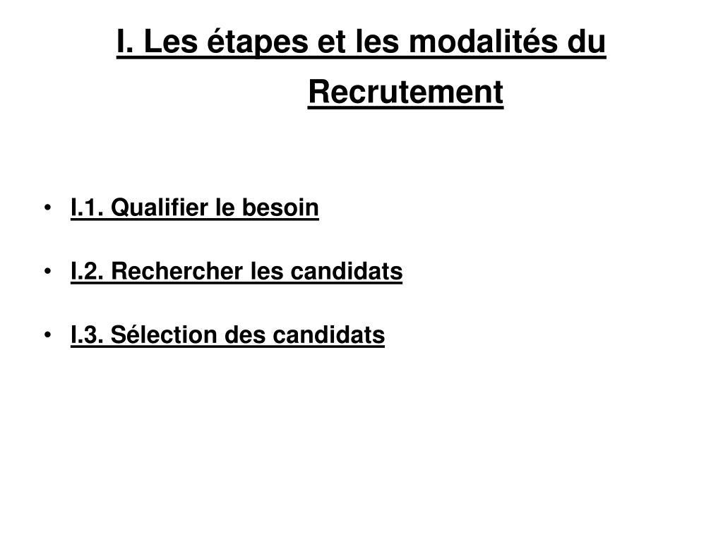 I. Les étapes et les modalités du Recrutement