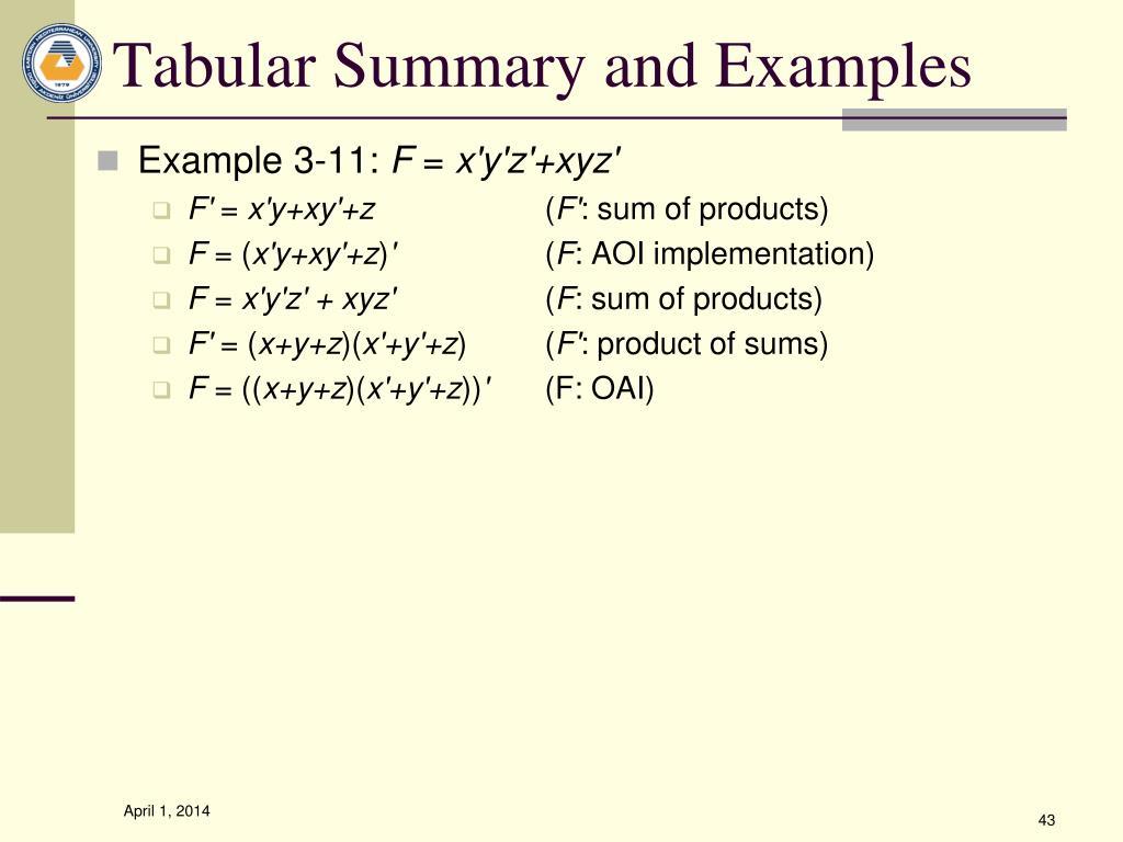 Tabular Summary and Examples