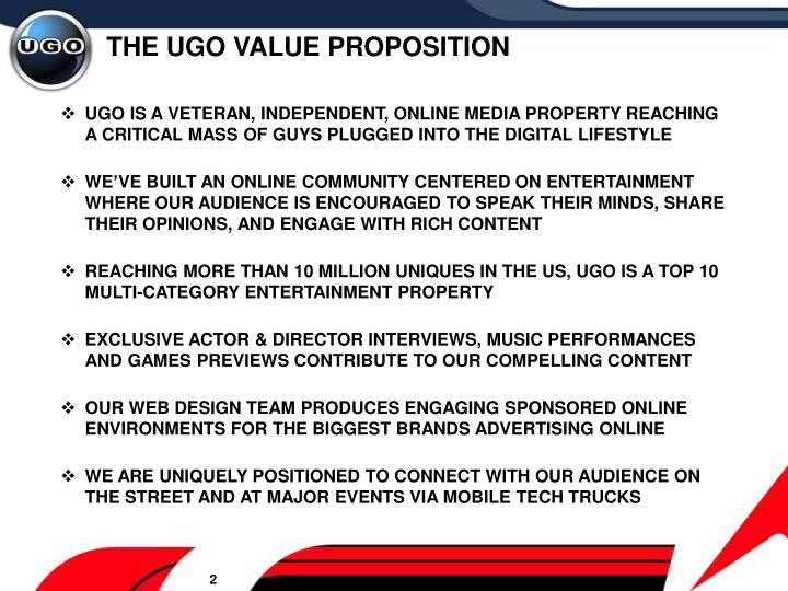 The ugo value proposition