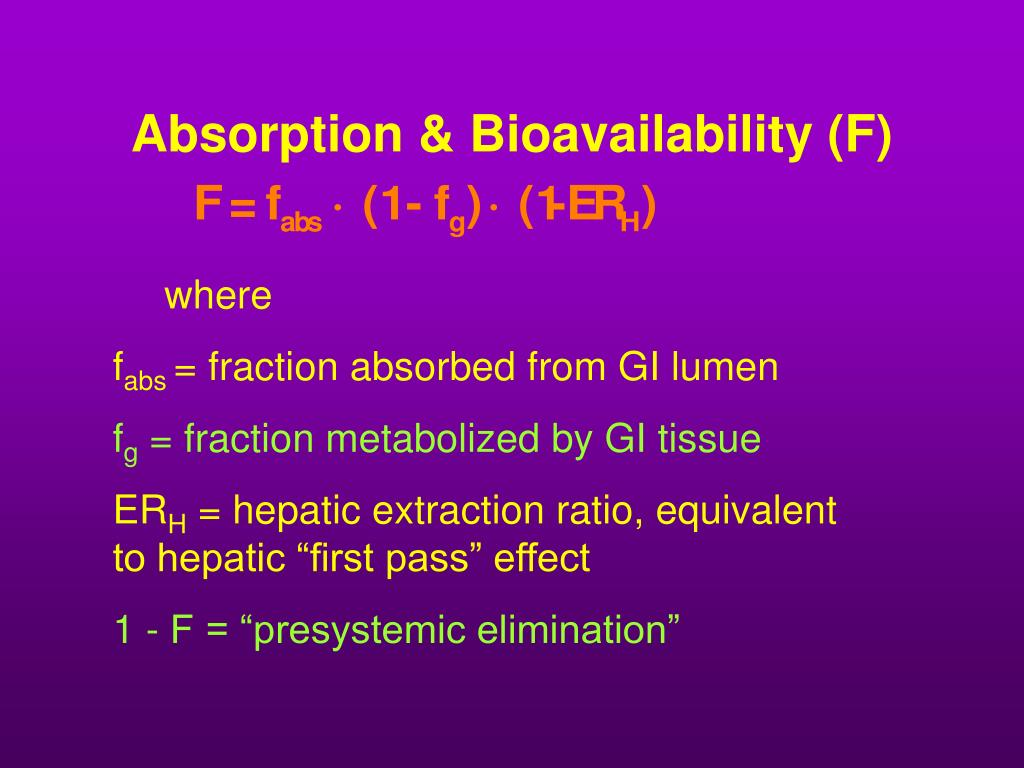 Absorption & Bioavailability (F)
