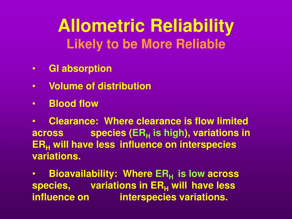 Allometric Reliability