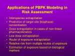 applications of pbpk modeling in risk assessment
