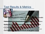 test results metrics