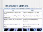 traceability matrices