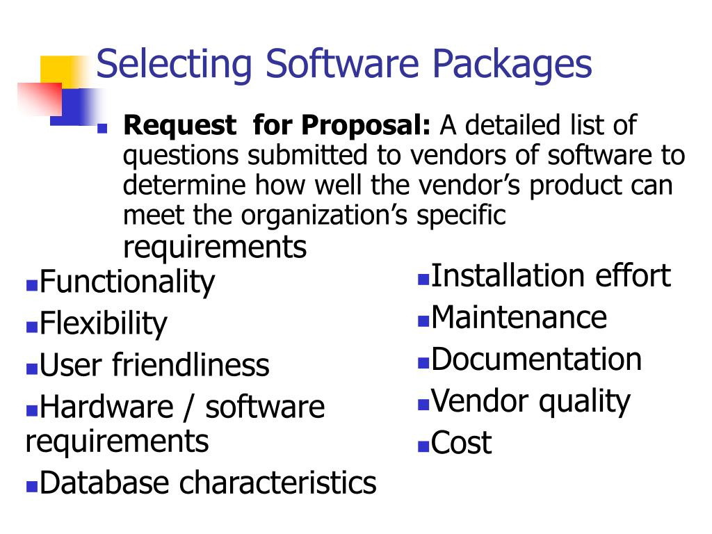 Selecting Software Packages