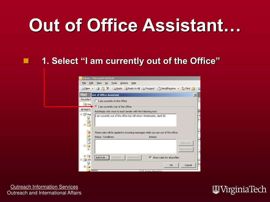 Out of Office Assistant…