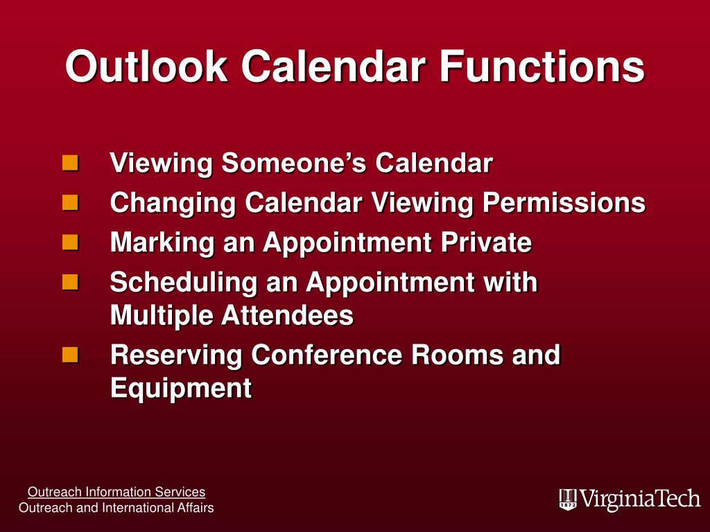 Outlook Calendar Functions