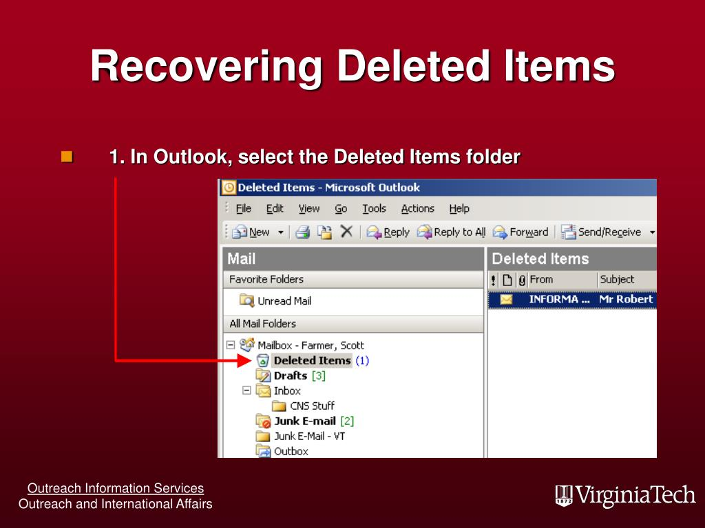 Recovering Deleted Items