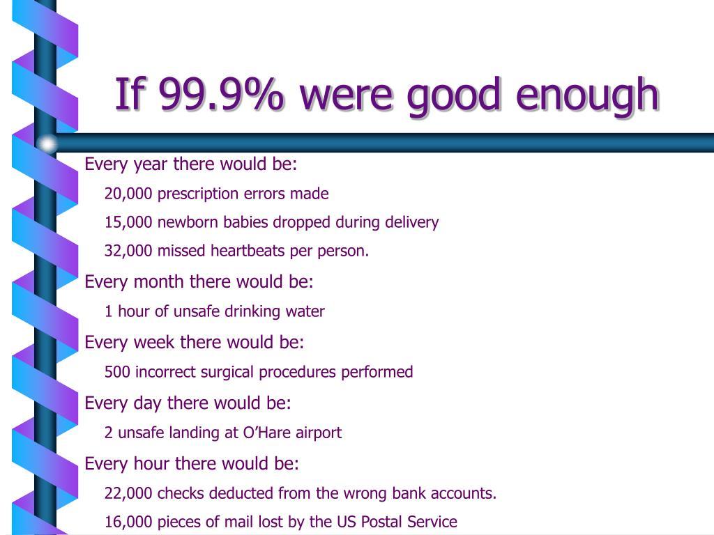 If 99.9% were good enough