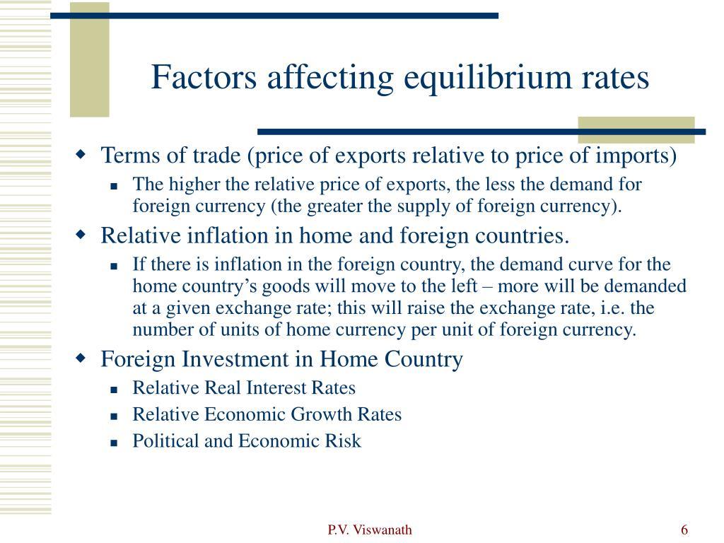 Factors affecting equilibrium rates
