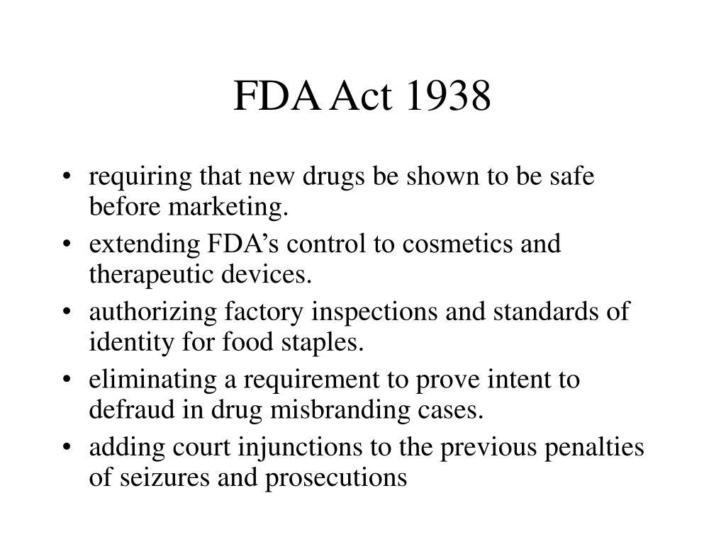 FDA Act 1938