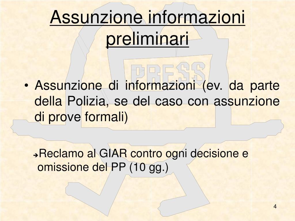 Assunzione informazioni preliminari