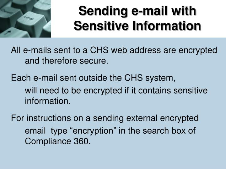 Sending e-mail with Sensitive Information