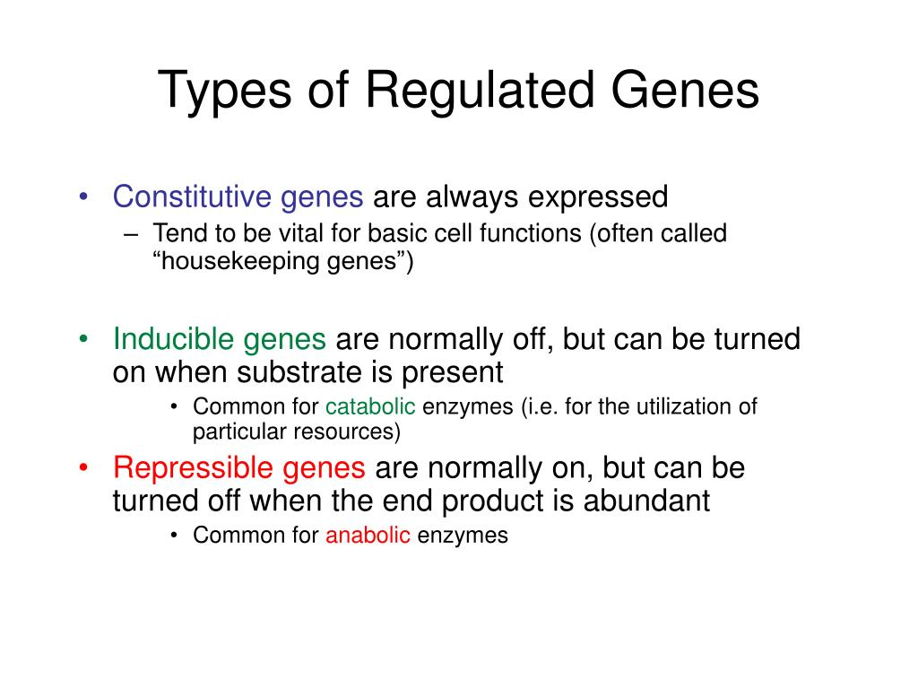 Types of Regulated Genes